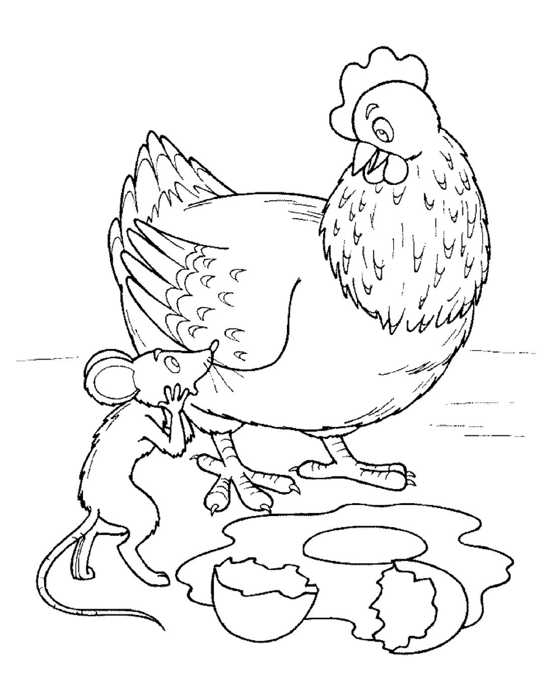 Курочка Ряба с мышкой - раскраска №723   Printonic.ru