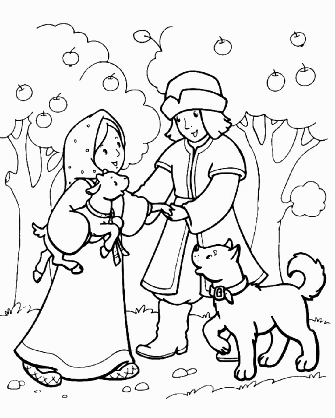 Раскраска аленушки и братца иванушки