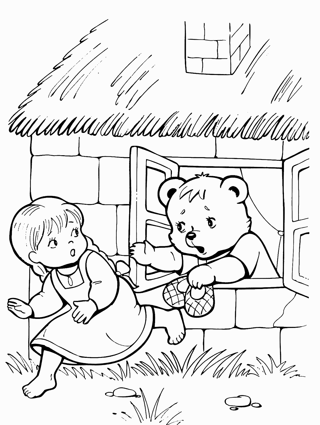 маша бежит от медведей раскраска 771 Printonic Ru
