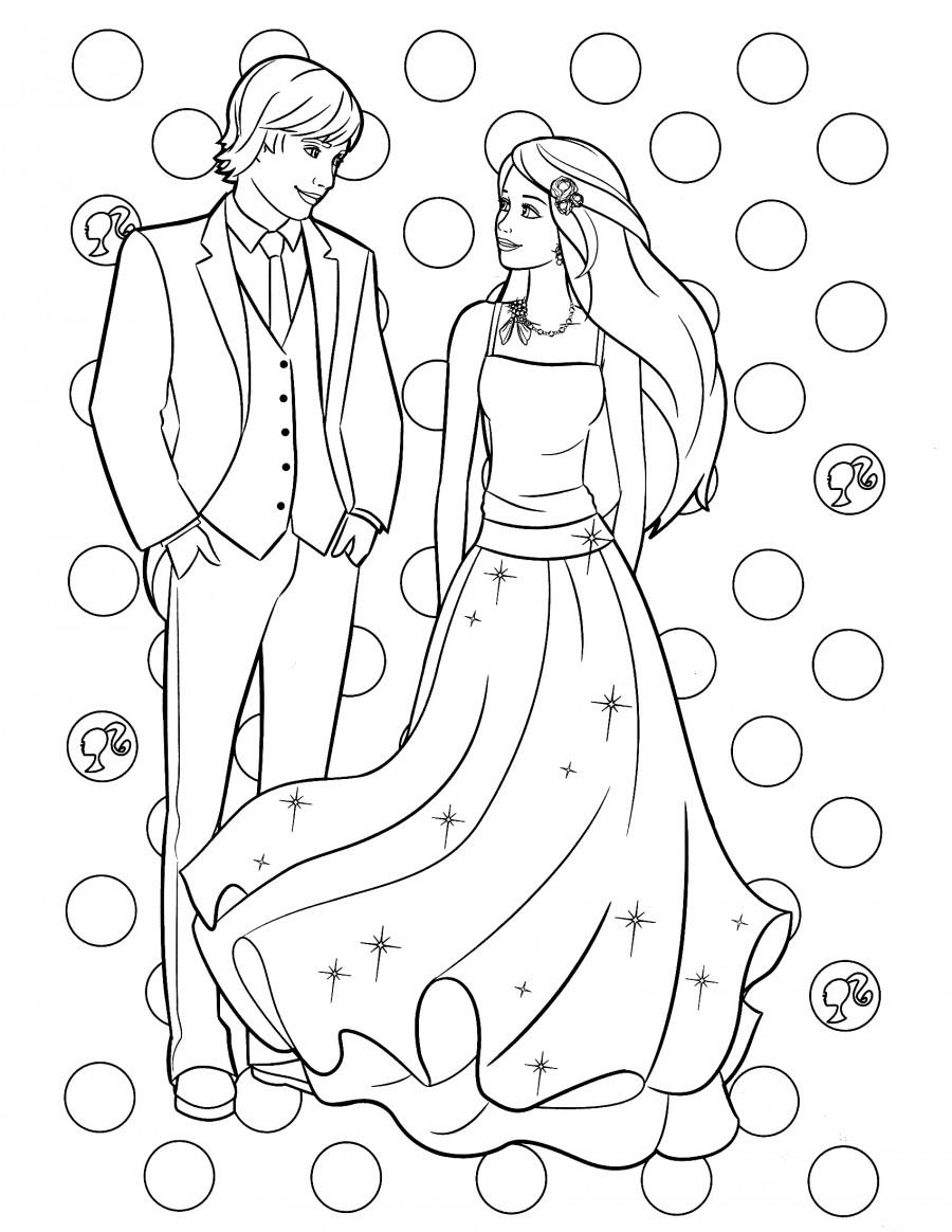 Влюбленные Барби и Кен - раскраска №887 | Printonic.ru