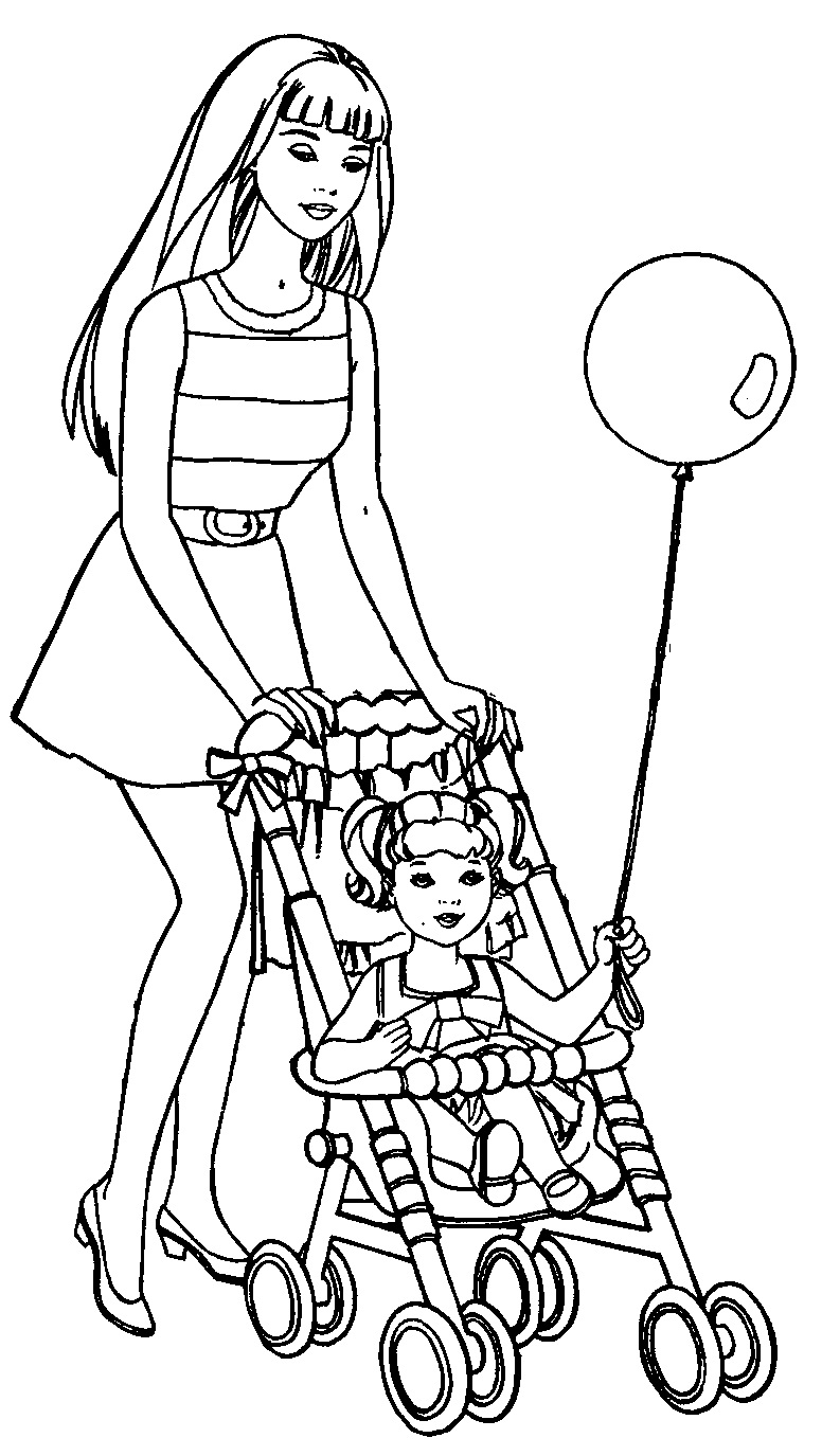Барби с коляской - раскраска №874 | Printonic.ru