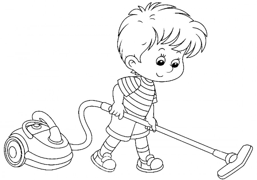 Мальчик в доме раскраска