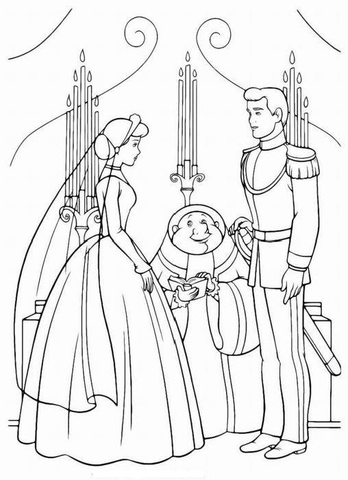 Раскраски принцессы свадьба