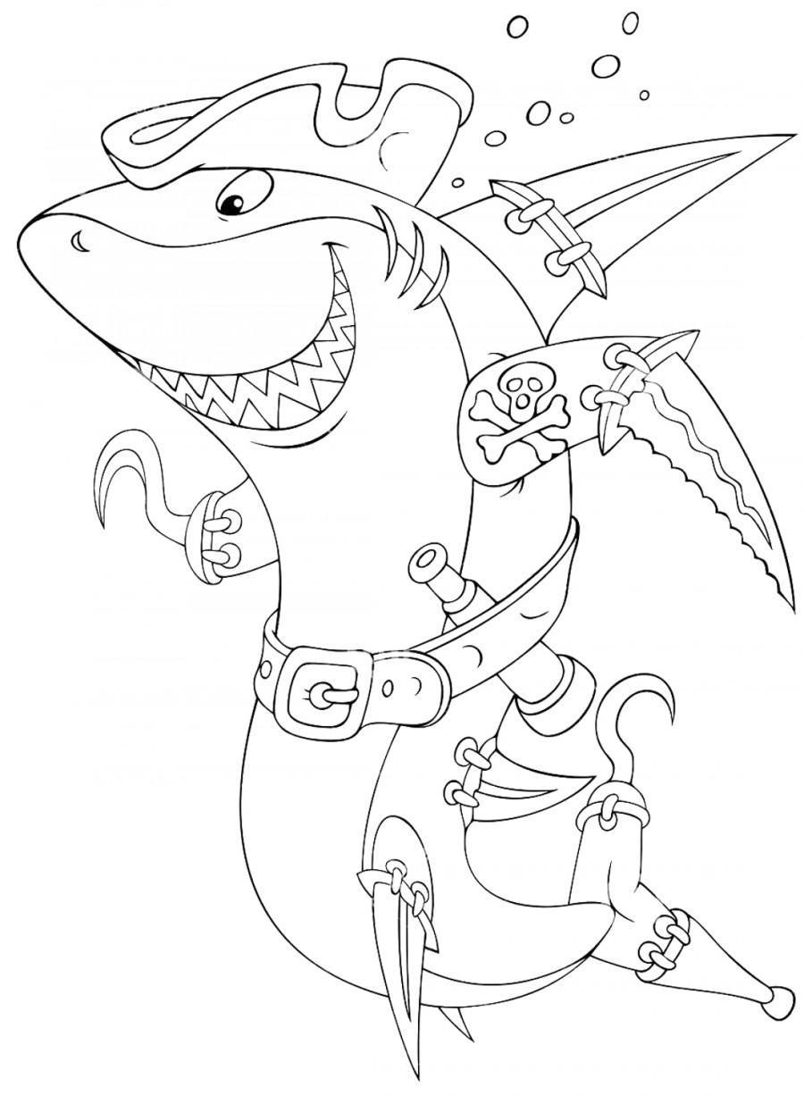 Акула пират - раскраска №1062 | Printonic.ru