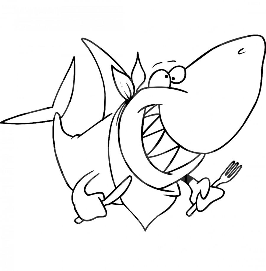 Голодная акула - раскраска №1068 | Printonic.ru