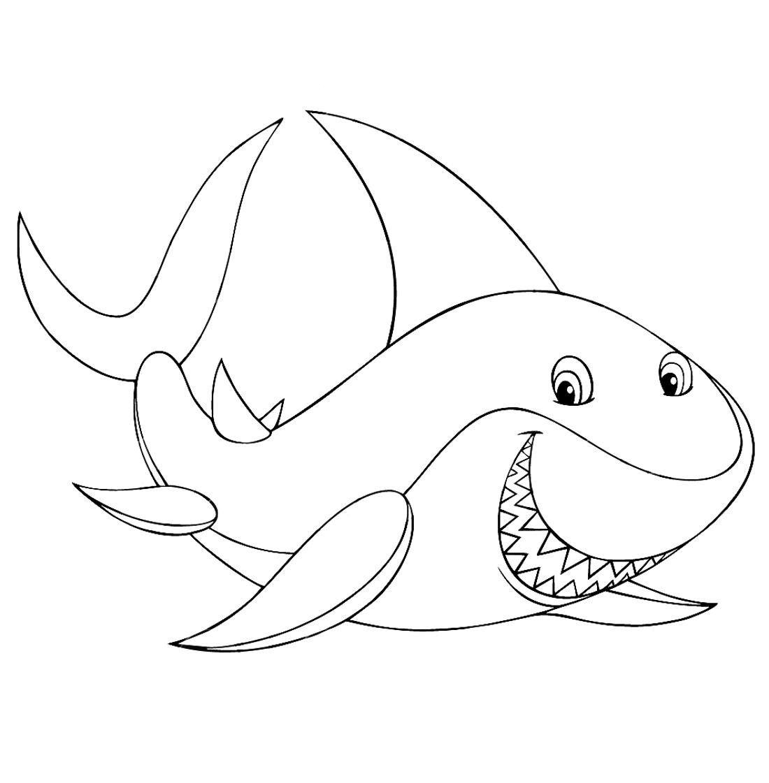 добрая акула раскраска 1070 Printonic Ru
