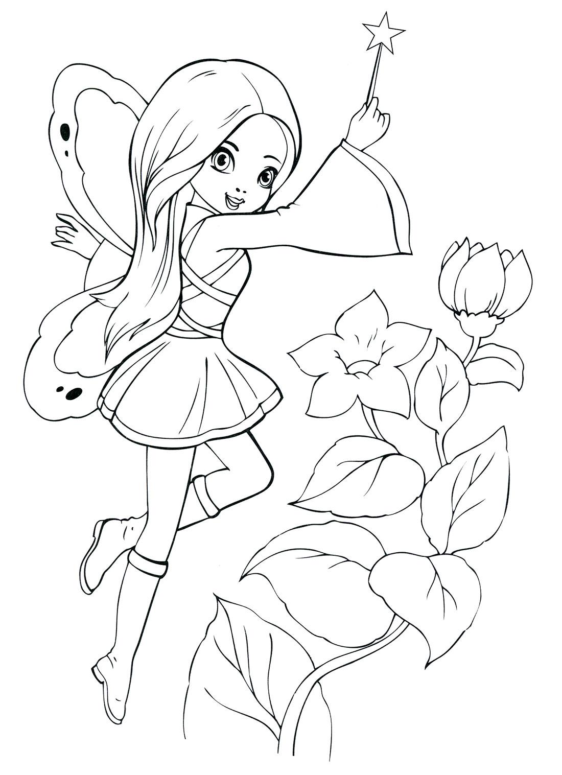 Раскраска маленькая фея