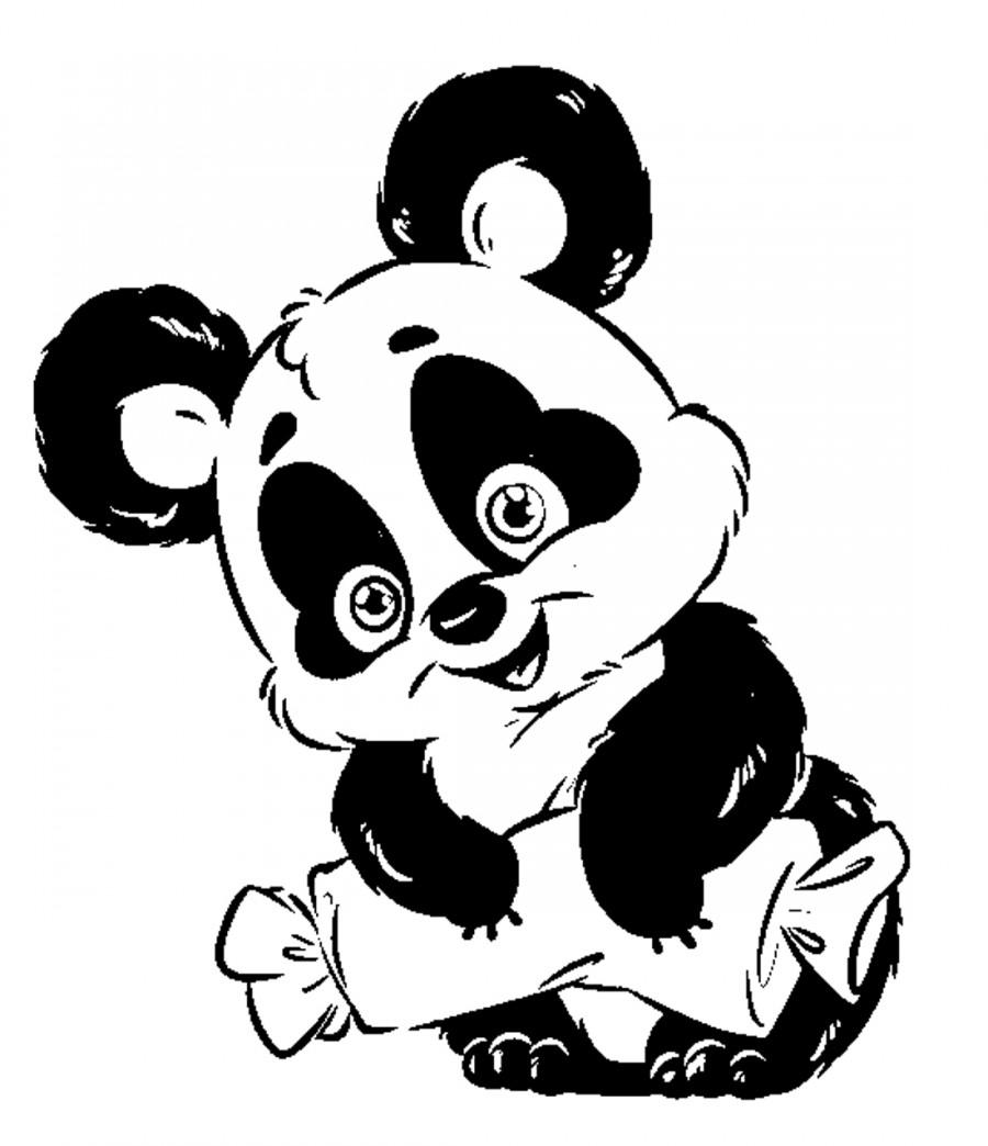 Панда с конфеткой - раскраска №13588   Printonic.ru