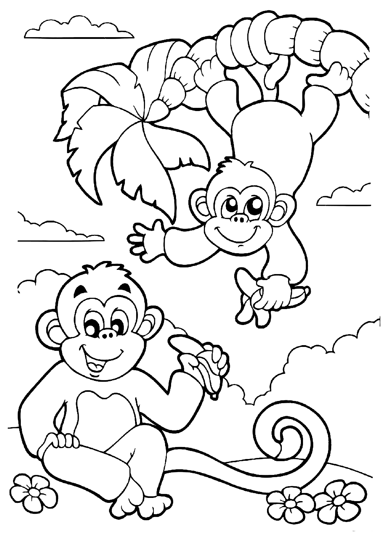 Плакат раскраска год обезьяны