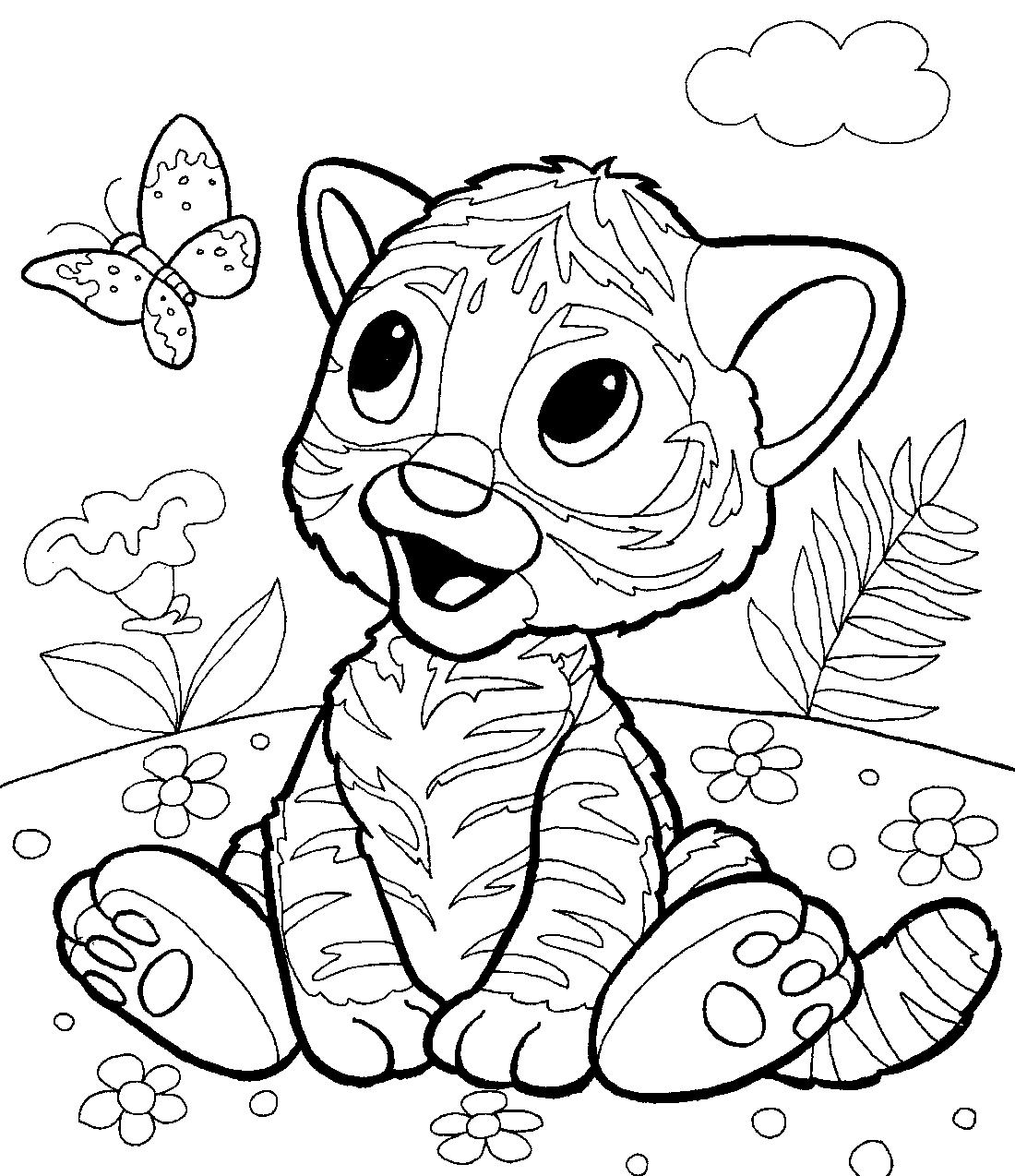 Раскраски для детей тигренок 195