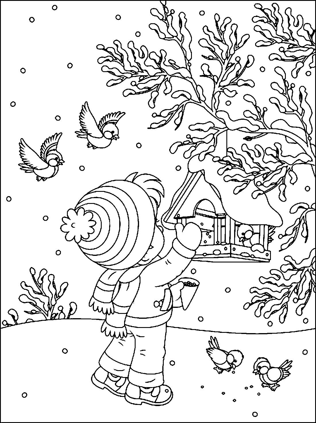 синички и ребенок раскраска 2316 Printonic Ru