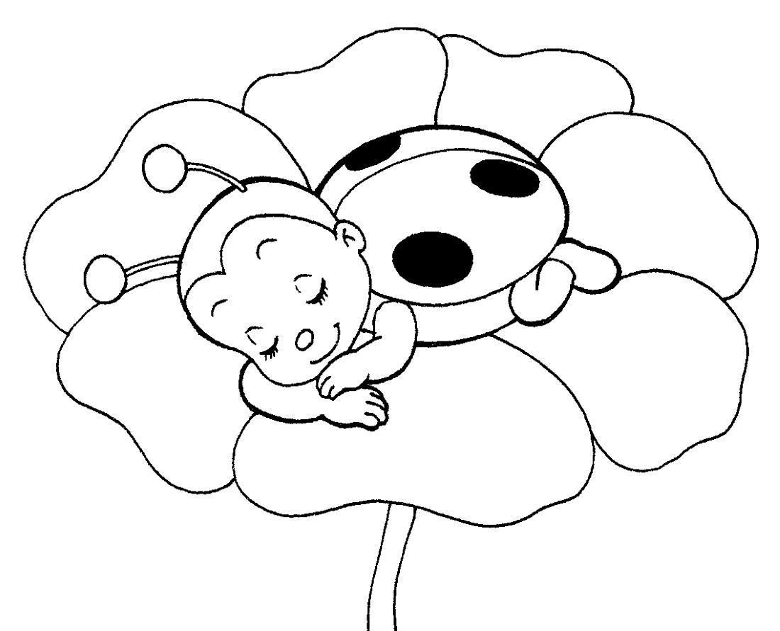 Раскраска божья коровка для малышей - 4