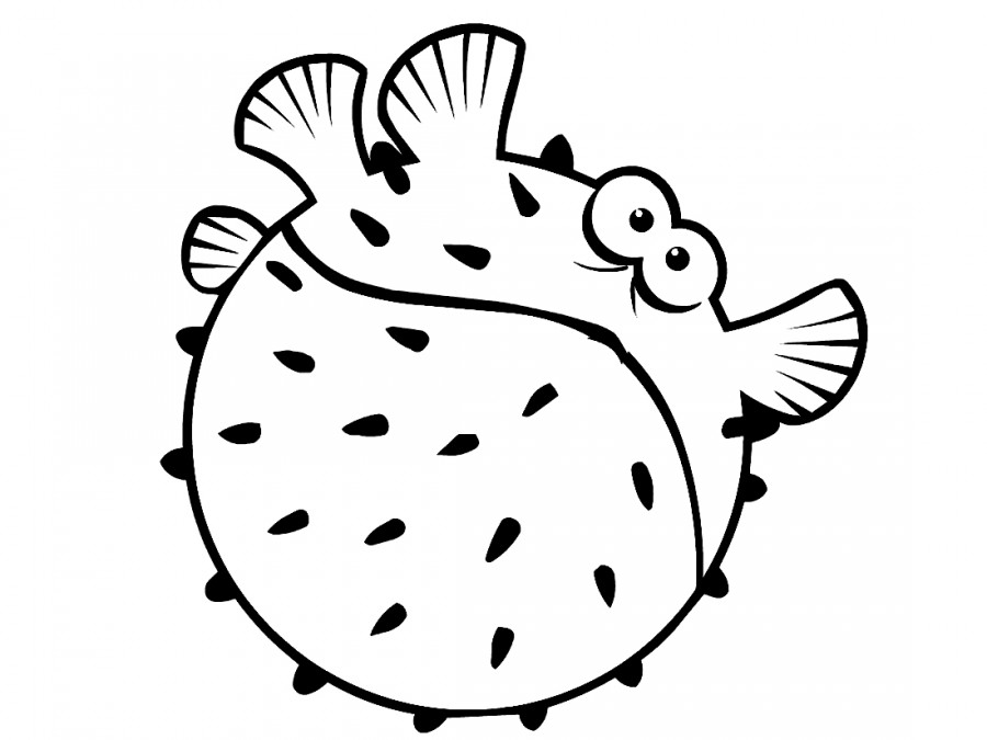 Рыба еж с глазками - раскраска №11796 | Printonic.ru