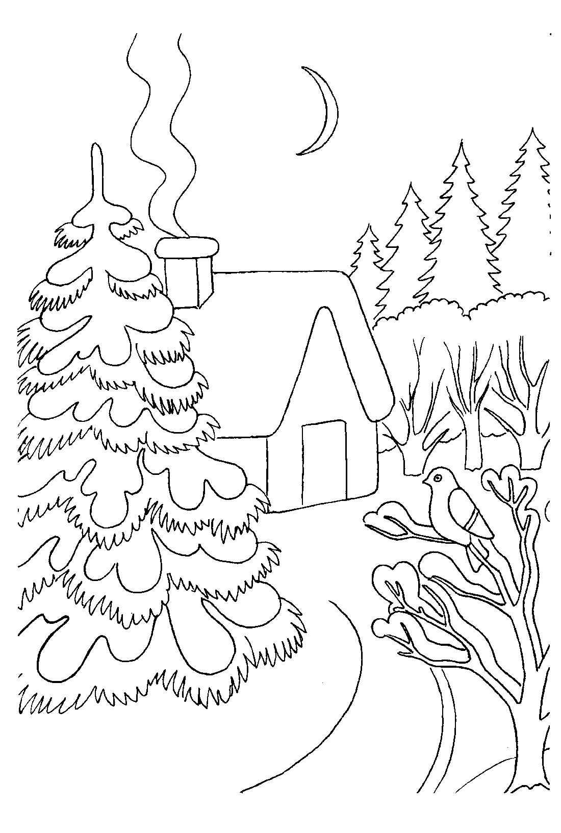 Как раскрасить зимний пейзаж