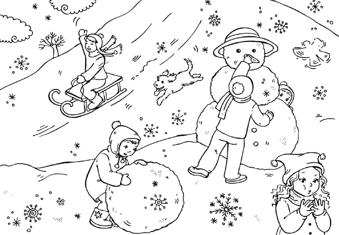 Раскраски ребенку на тему зима
