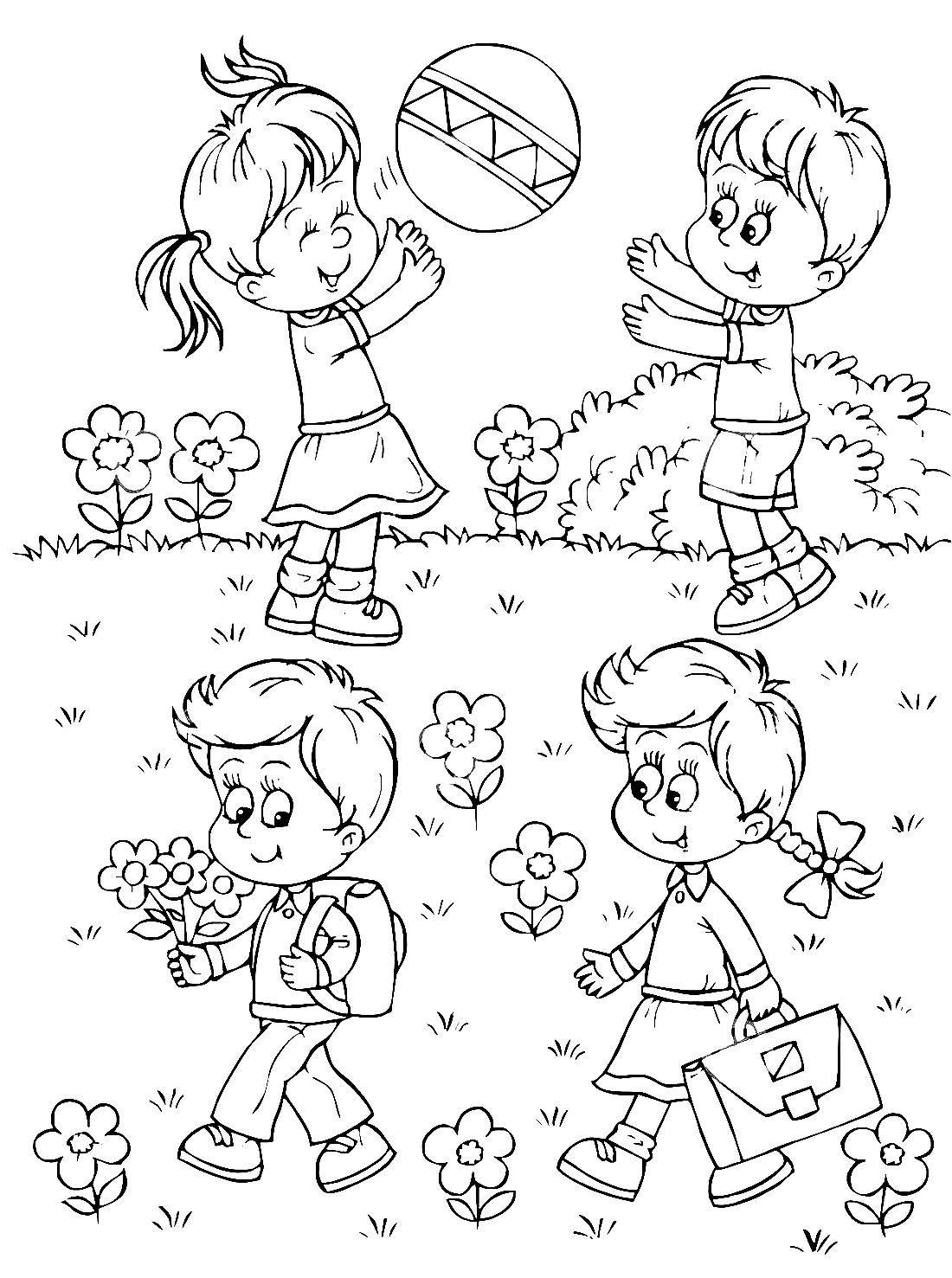 Картинки раскраски лето дети
