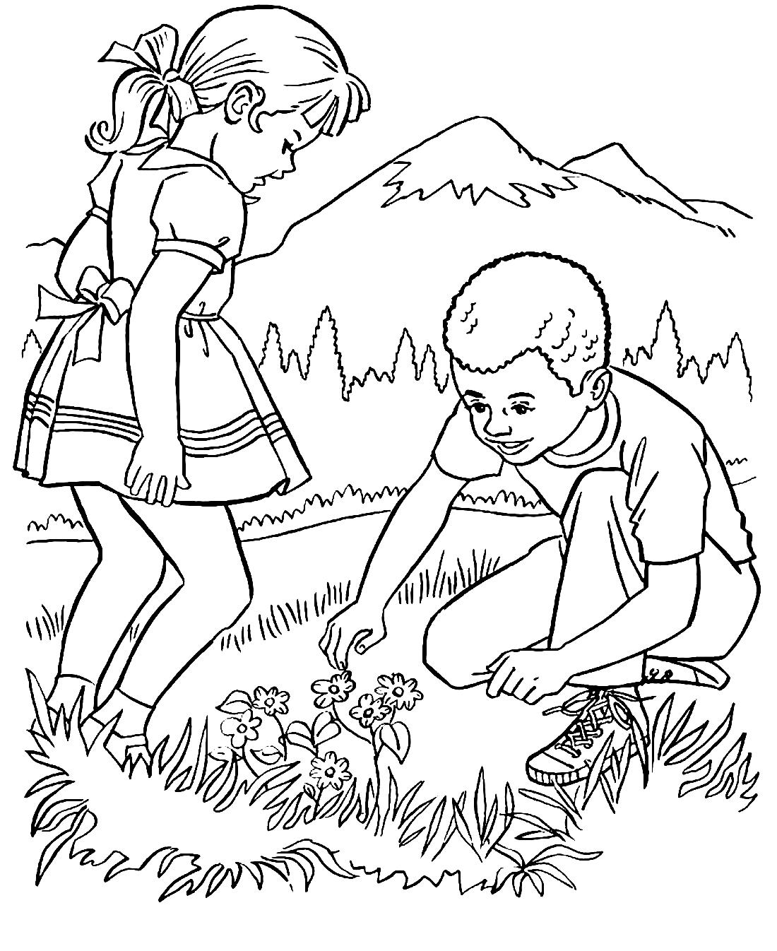 Раскраска на тему дети и природа