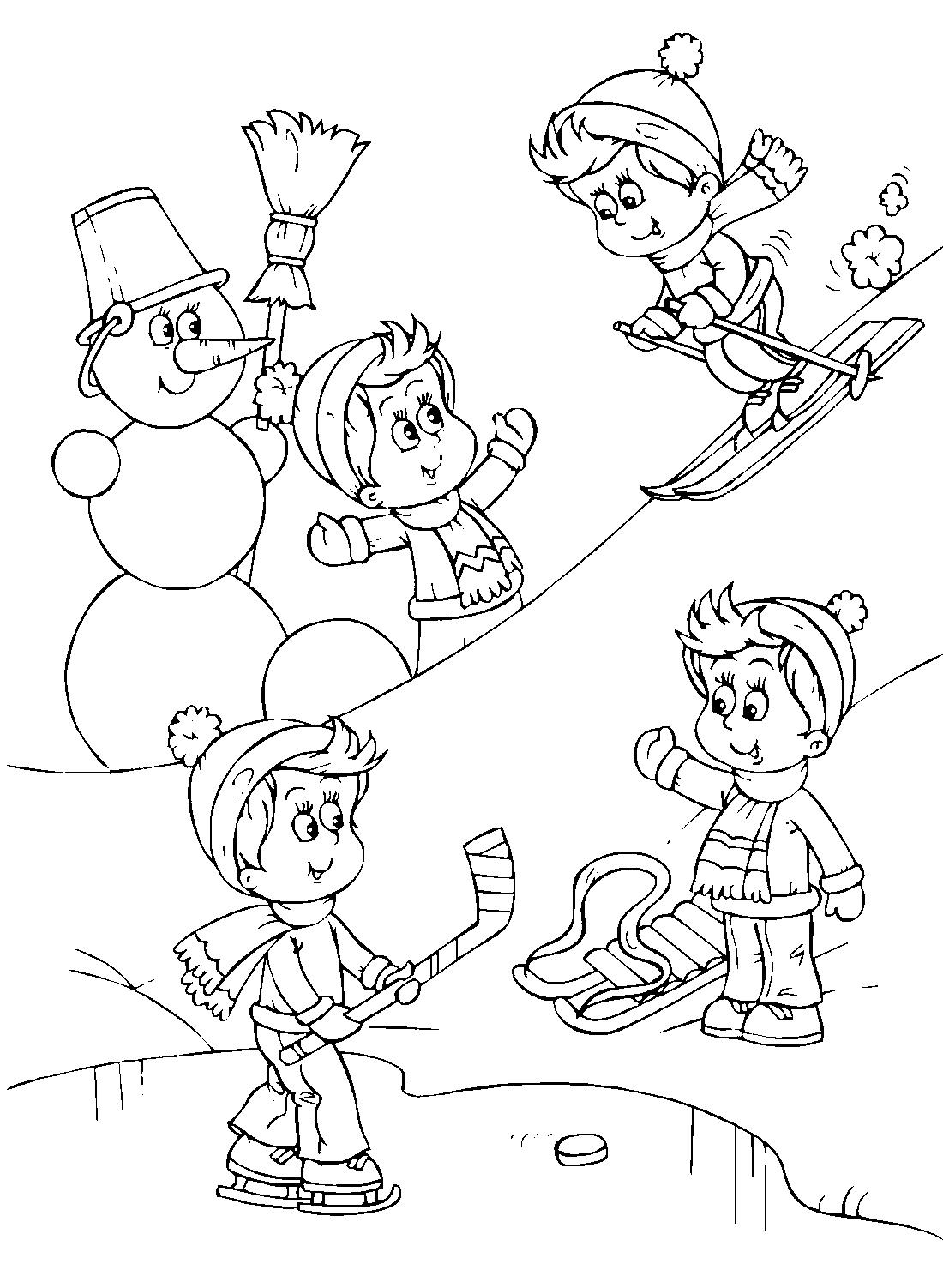 Раскраски зимние игры 96