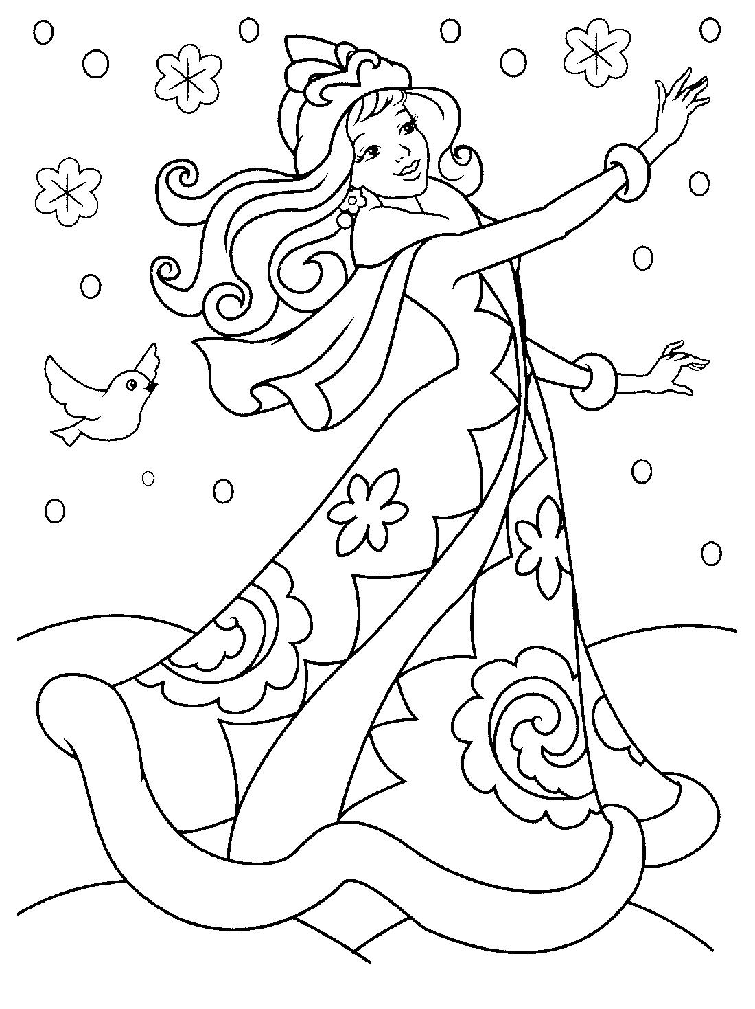 девушка зима раскраска 10349 Printonic Ru