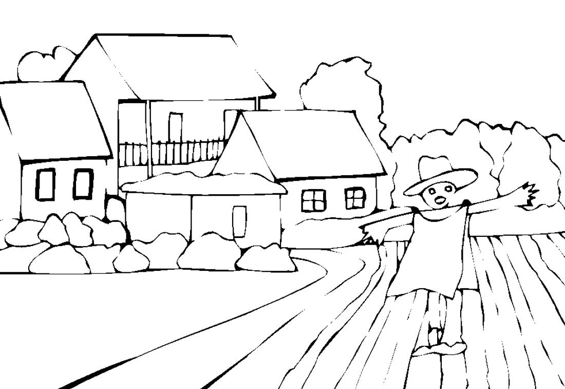 мое село картинка раскраска