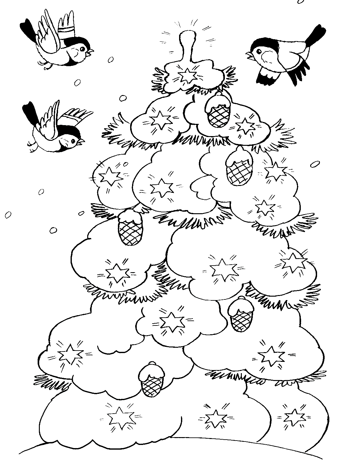 Птички и елка зимой в лесу - раскраска №8659   Printonic.ru