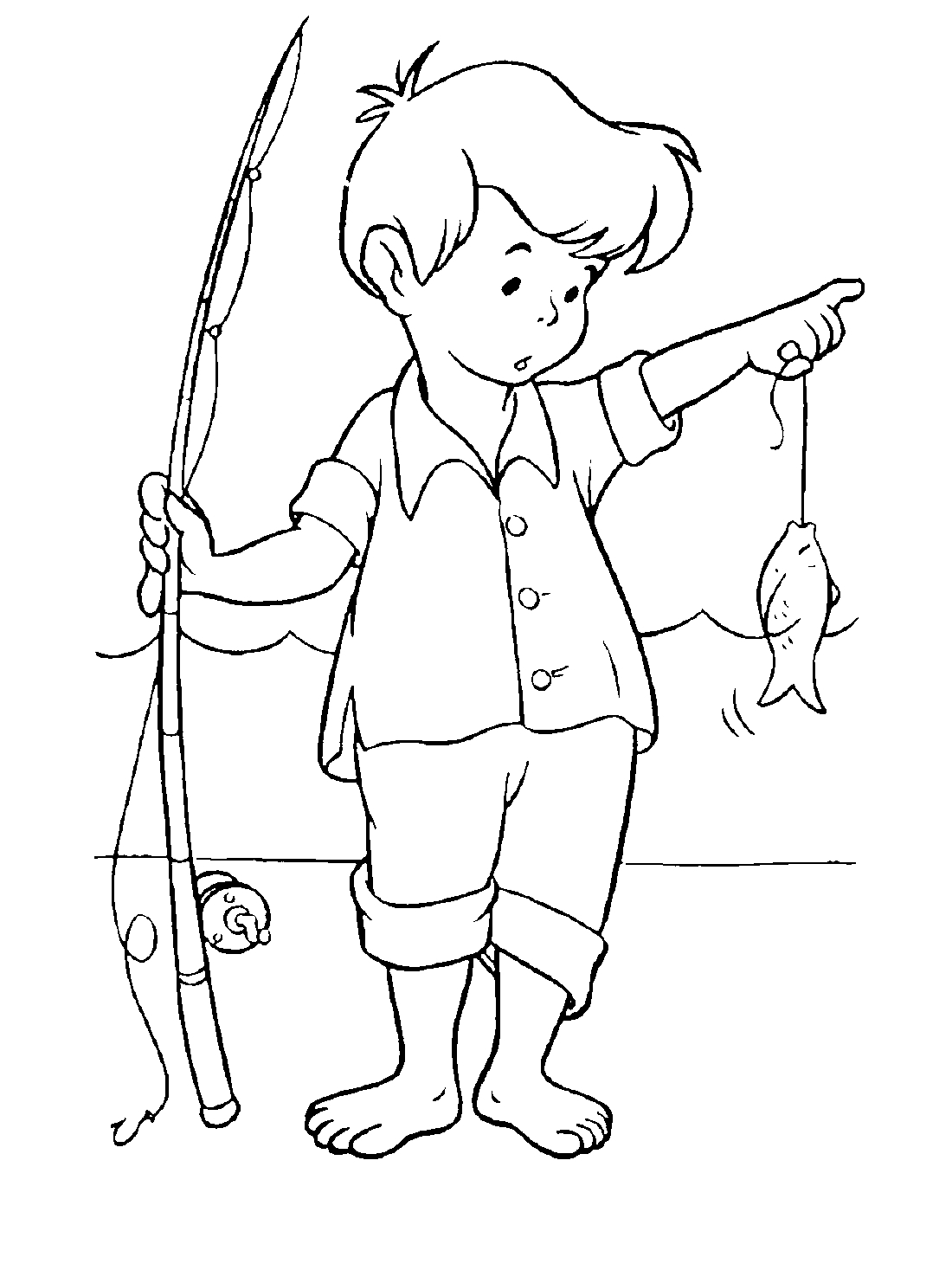 Молодой рыбак - раскраска №3076 | Printonic.ru