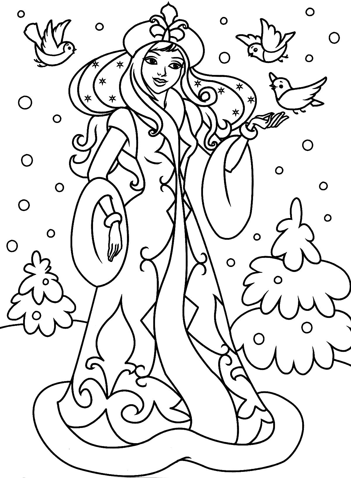 Раскраски для девочек про зиму