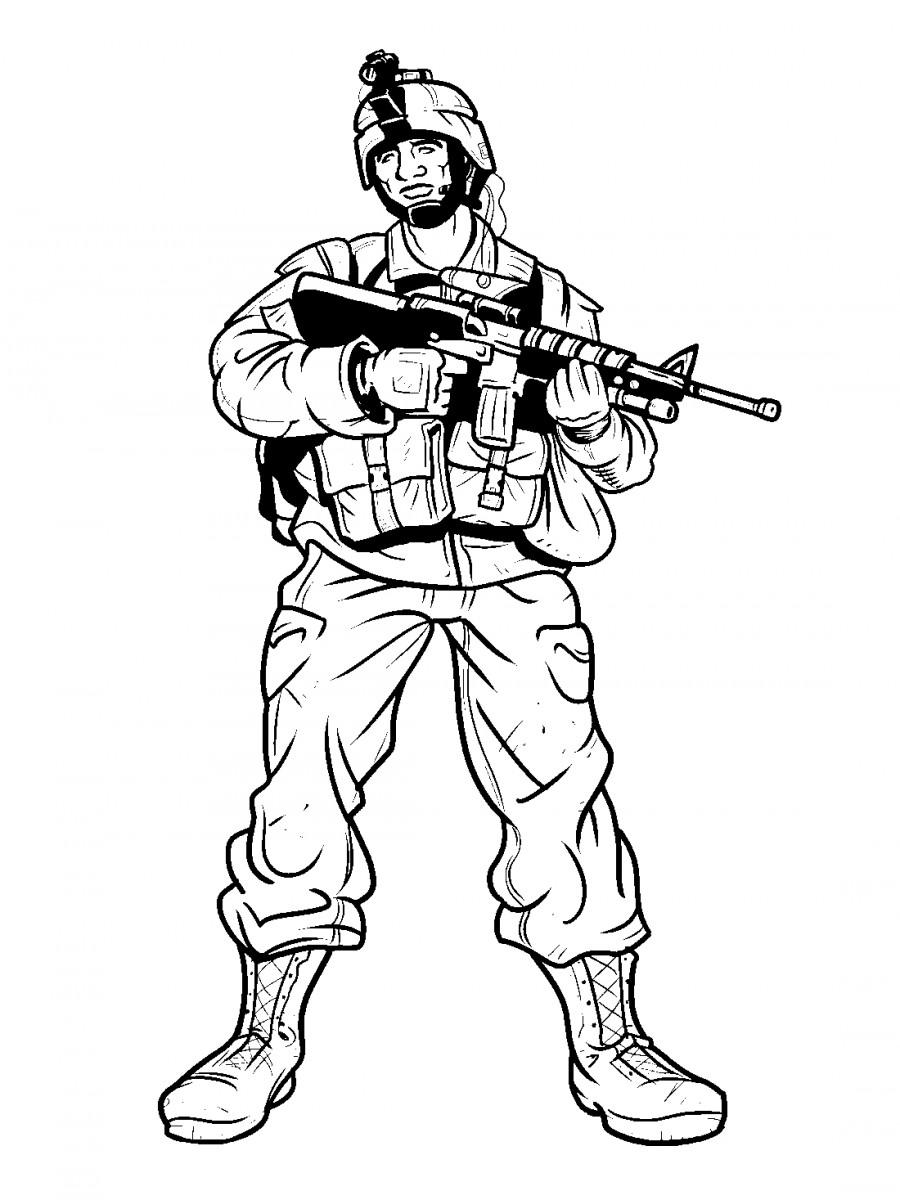 Раскраски солдат для детей