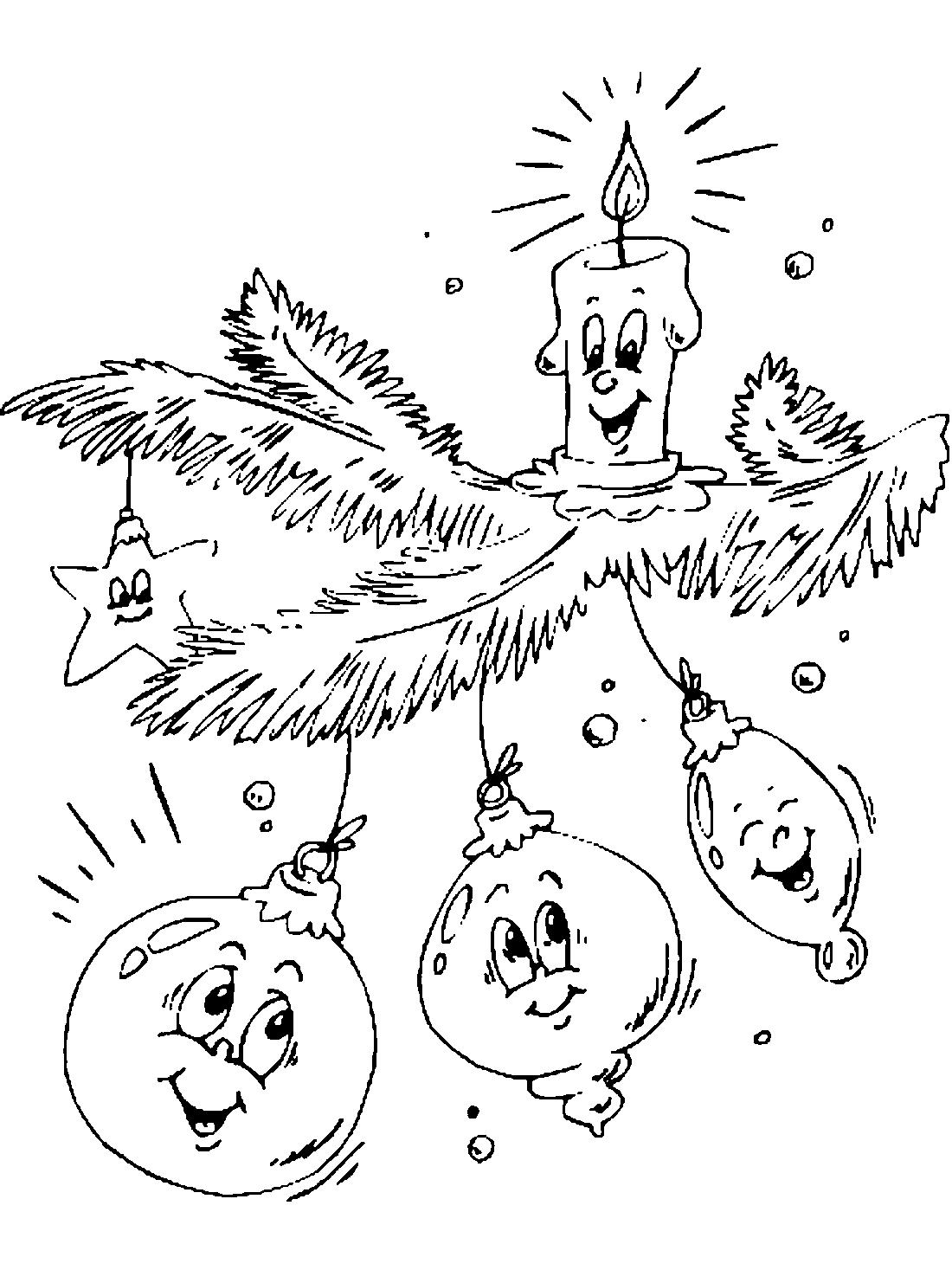 новогодние игрушки и свеча раскраска 10448 Printonic Ru