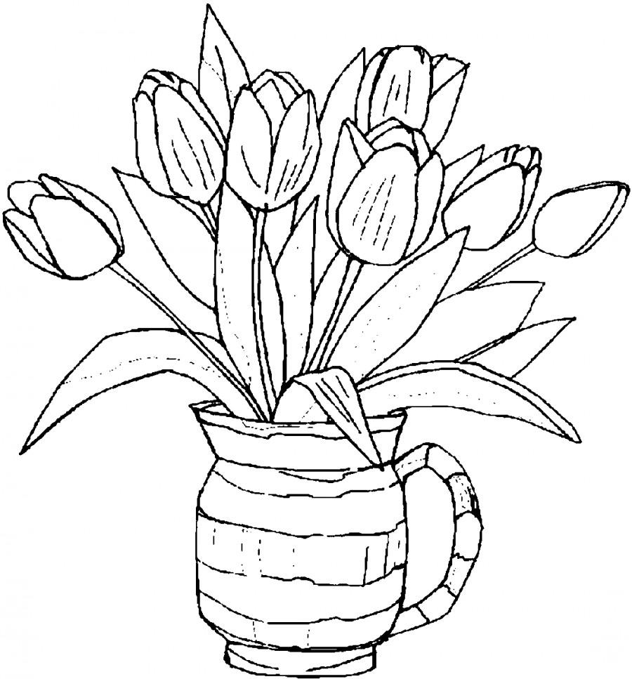 Тюльпаны в вазе - раскраска №13673 | Printonic.ru