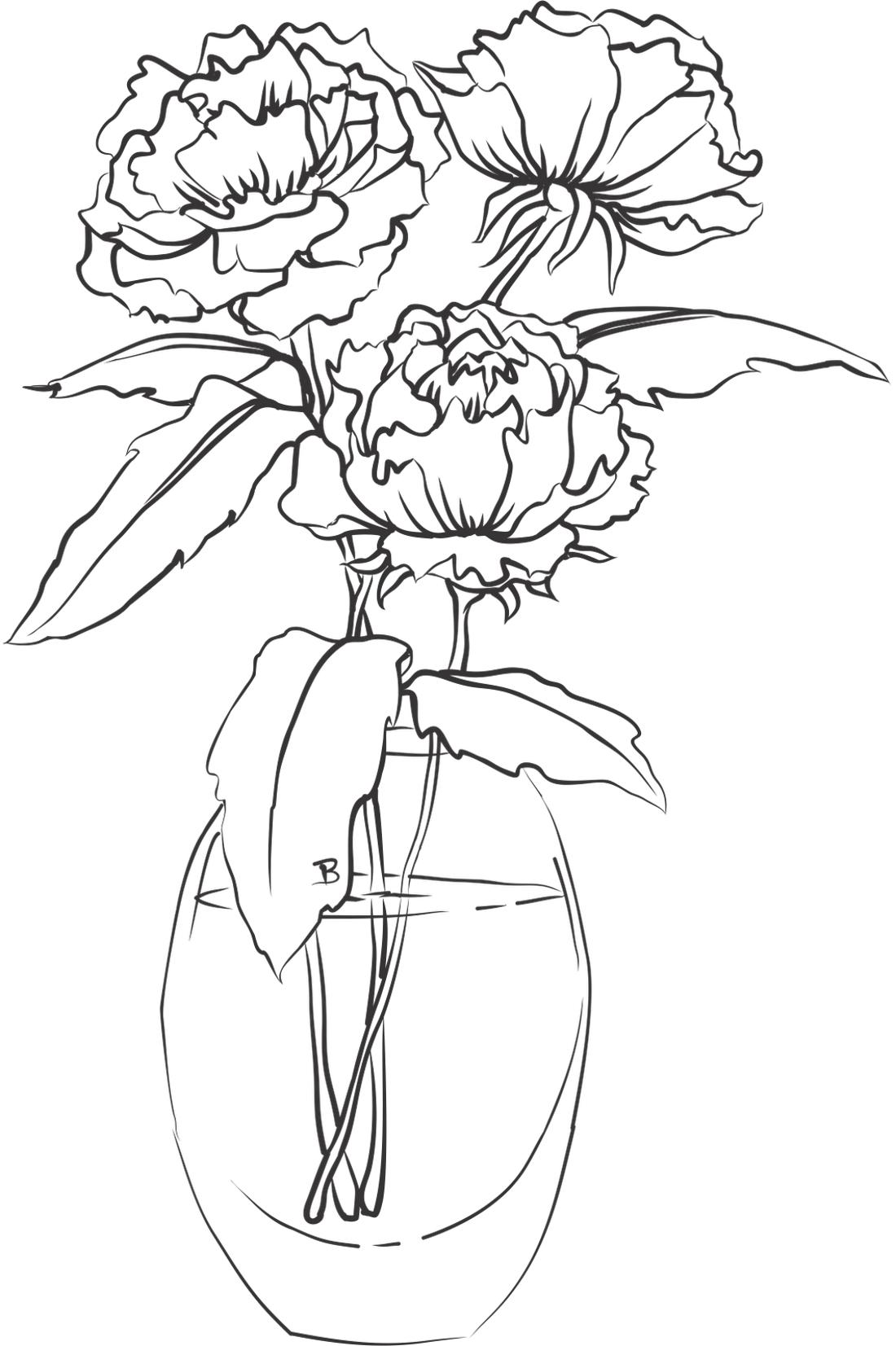 Раскраска цветок пионы