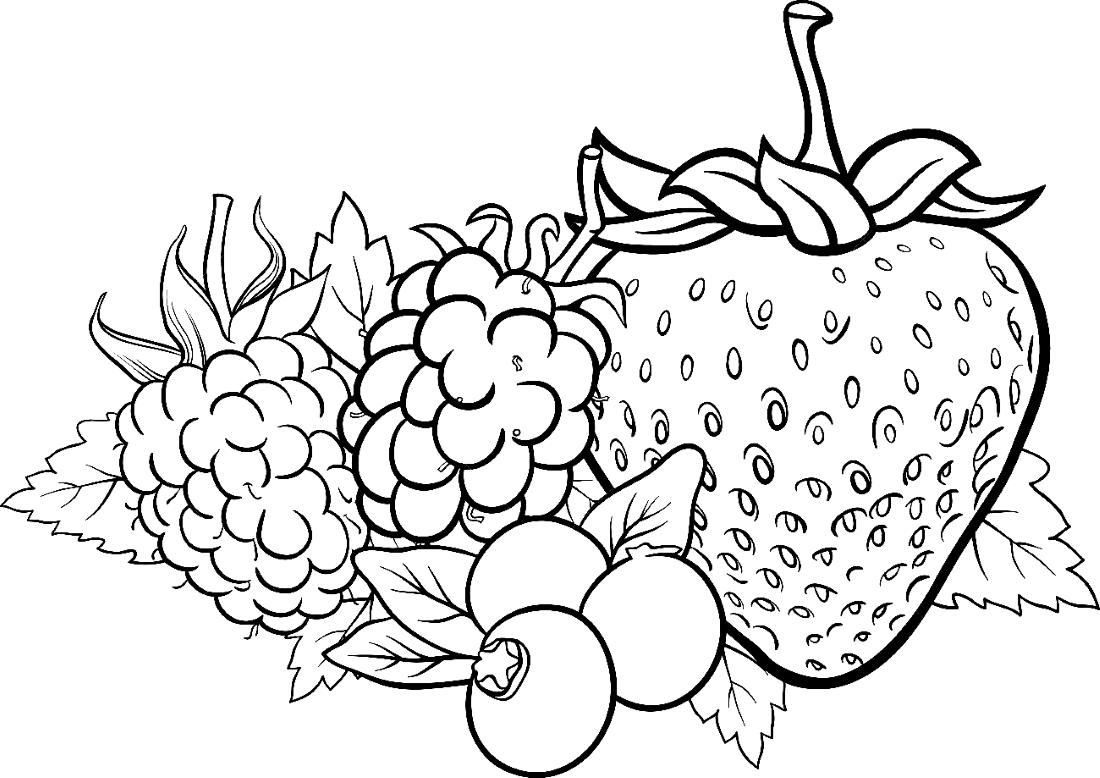 Картинки ягод и фруктов раскраски