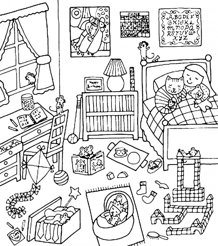 Раскраска моя комната с игрушками