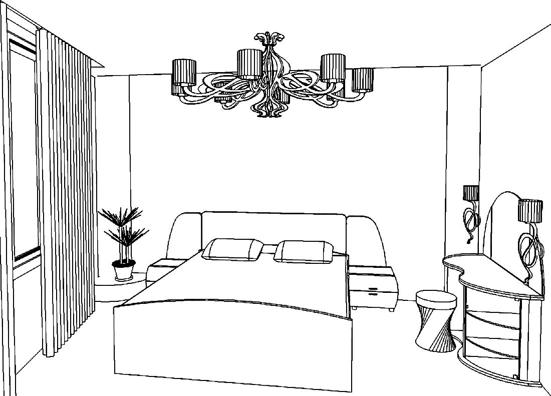 рисунок спальне на стене