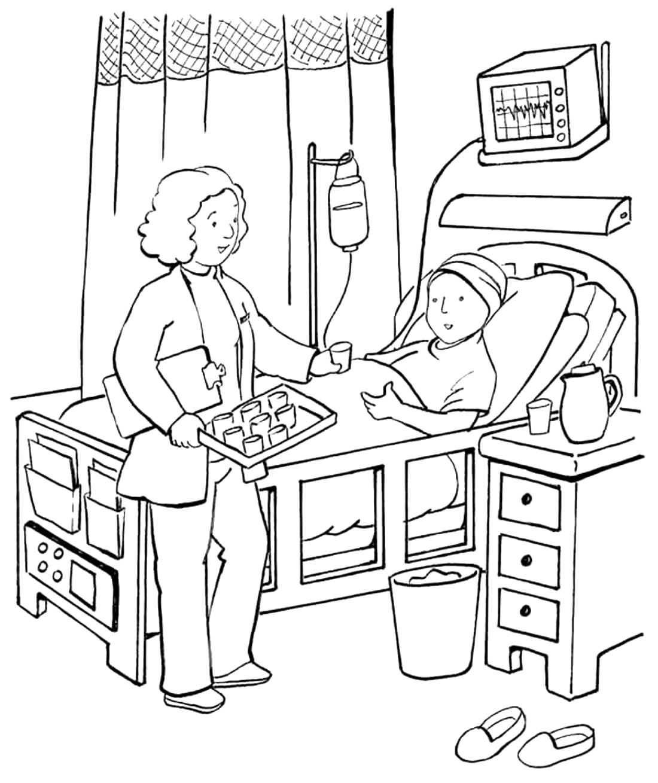 в больничной палате раскраска 4221 Printonic Ru