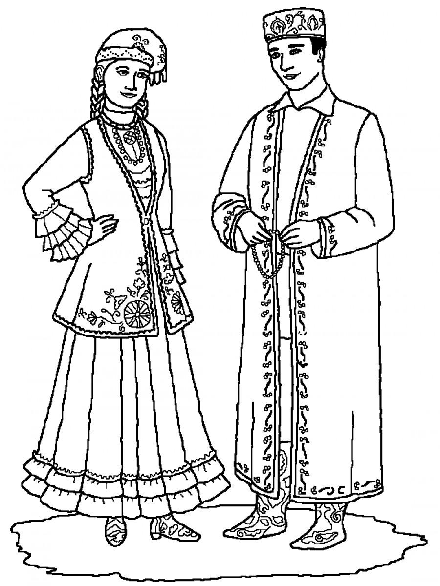 Раскраска татарских одежда