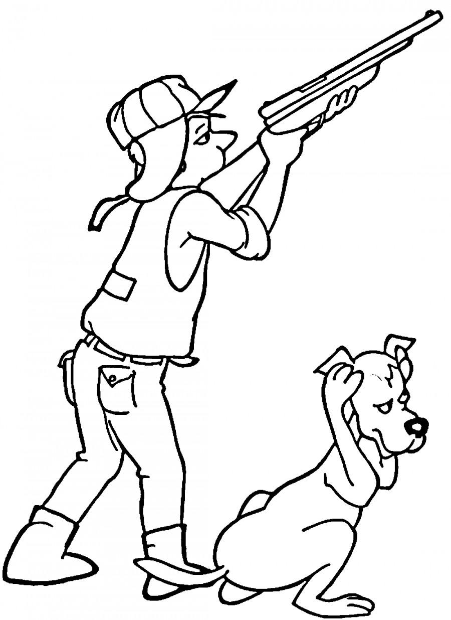Раскраска охотника с ружьём