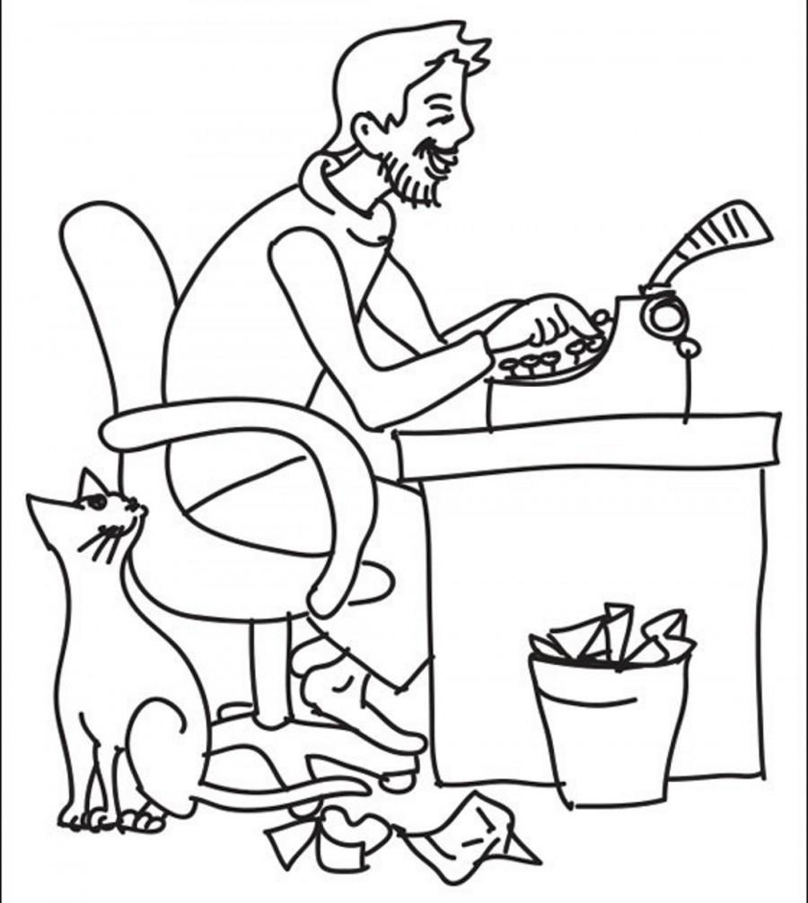 Писатель с котом - раскраска №14301 | Printonic.ru