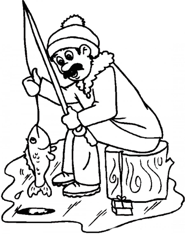 раскраска рыболова