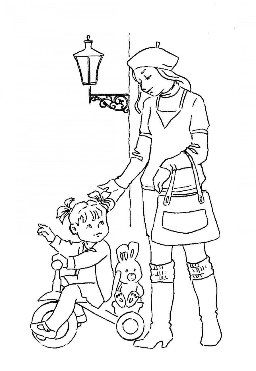 Раскраска мама и малыш - 8