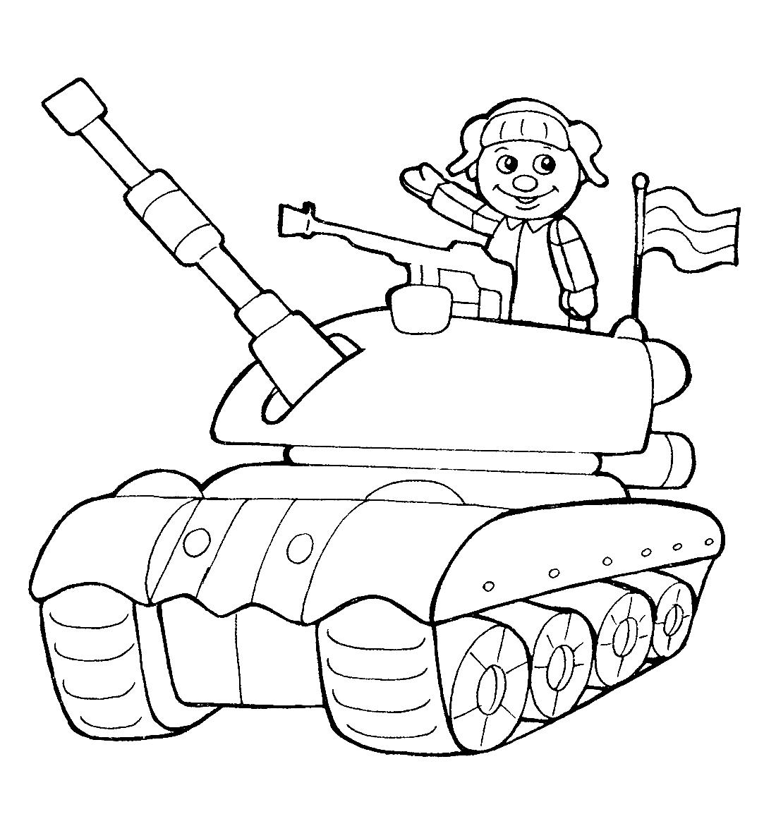 Военный в танке - раскраска №10438 | Printonic.ru