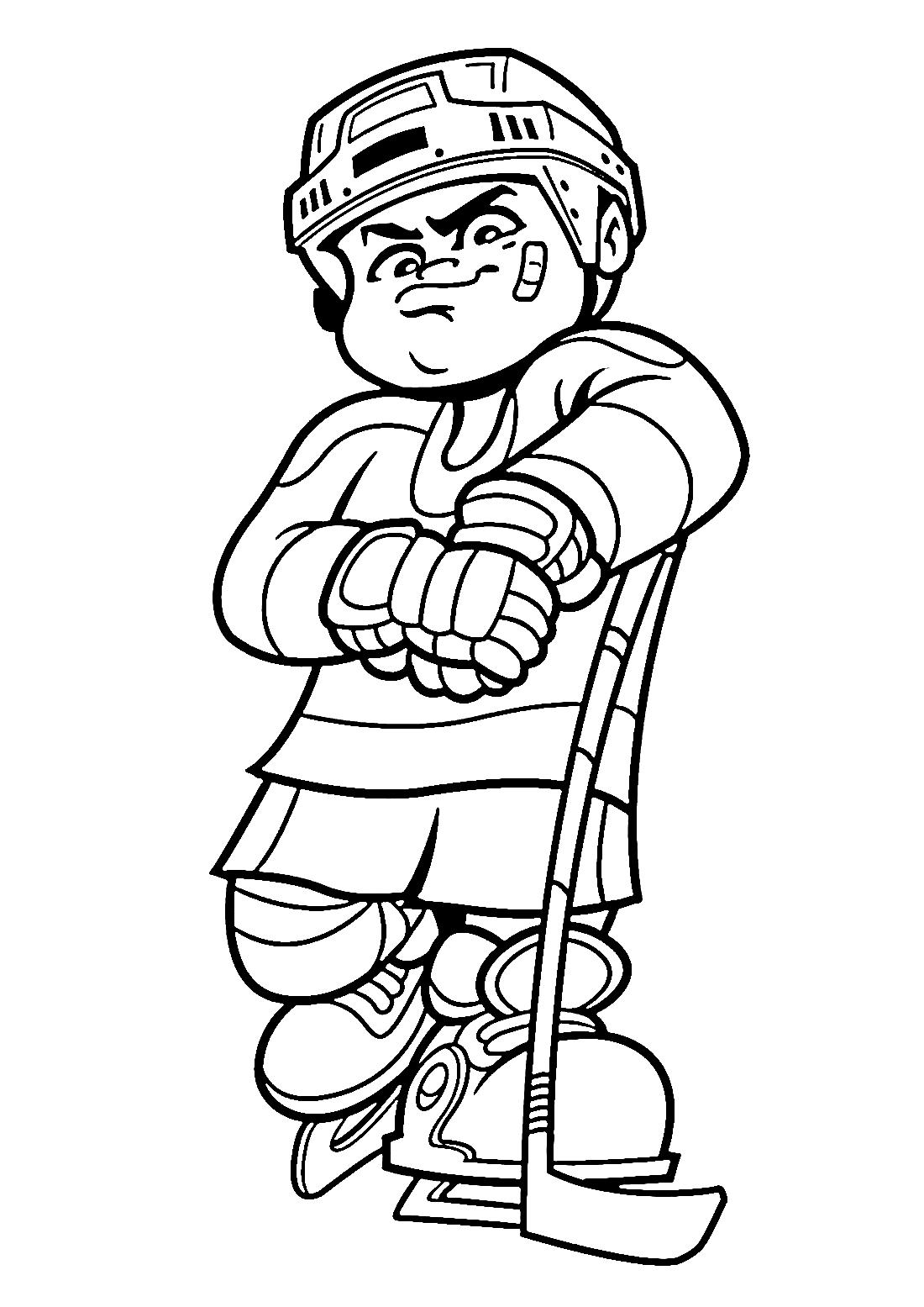 спортсмен с клюшкой раскраска 10931 Printonic Ru