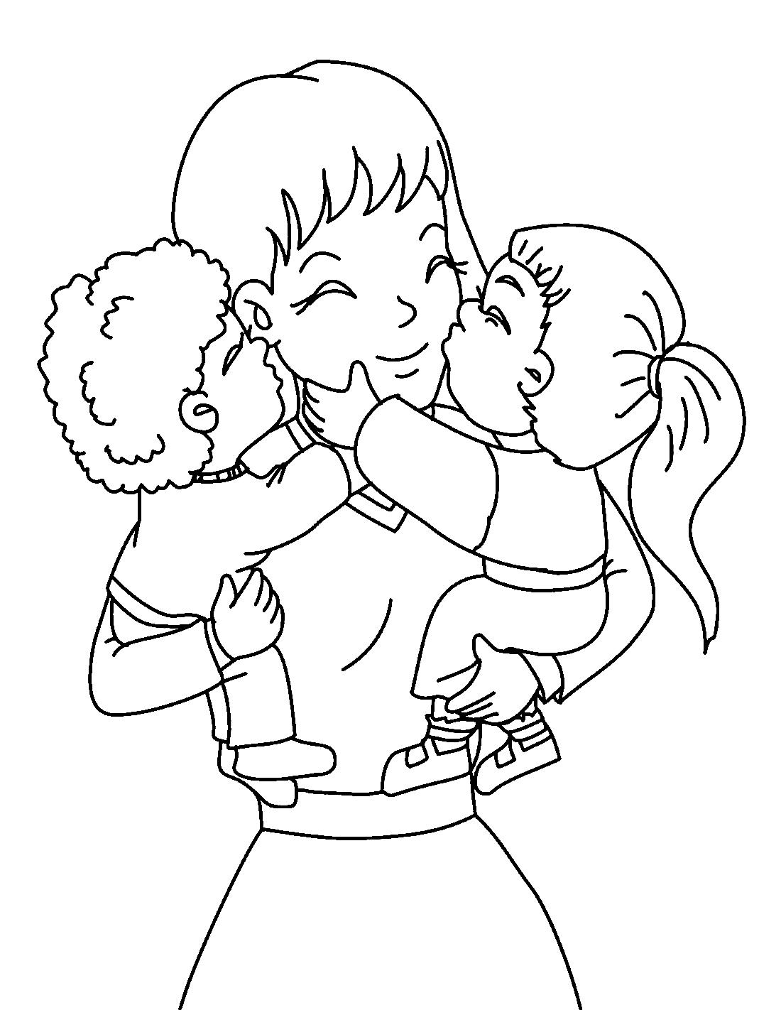 Мамы с детьми раскраска