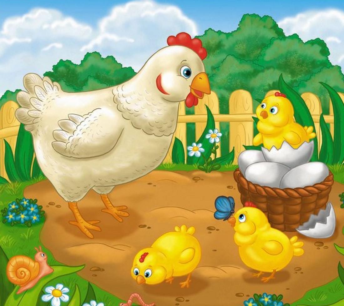 Курица и цыплята рисунки для детей