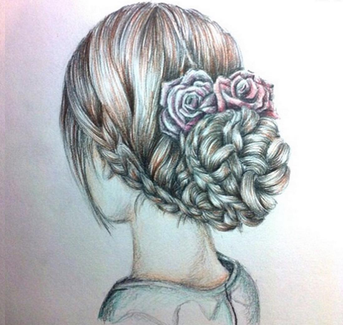 Нарисовать прическу карандашом девочке