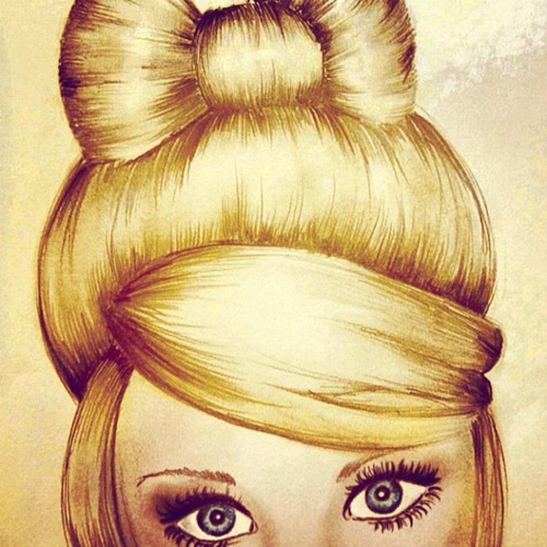 Рисунок девушки с красивой прической