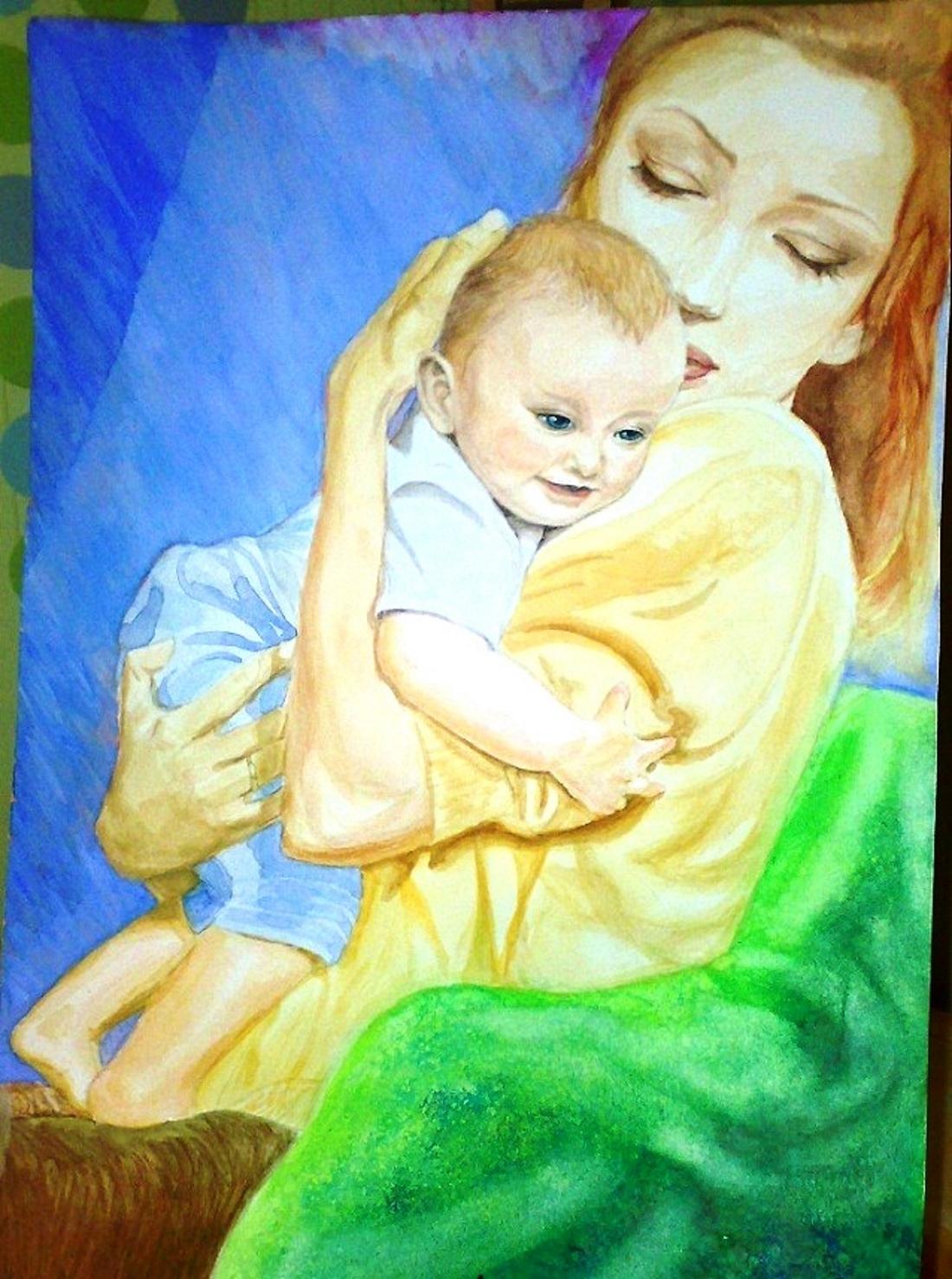 Как нарисовать ребёнка с мамой фото